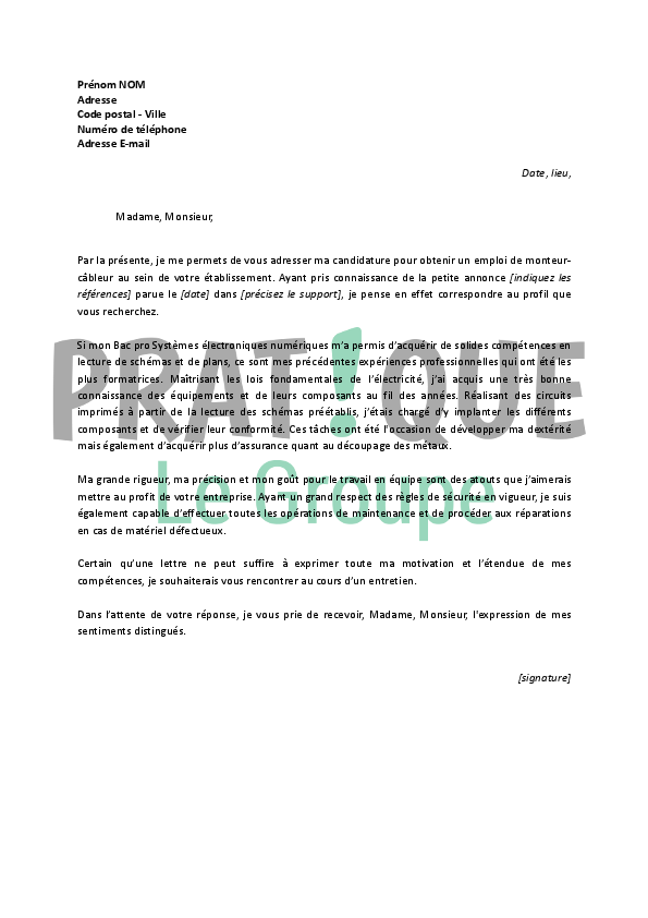 lettre de motivation stage monteur cableur  u2013 conception carte  u00e9lectronique cours