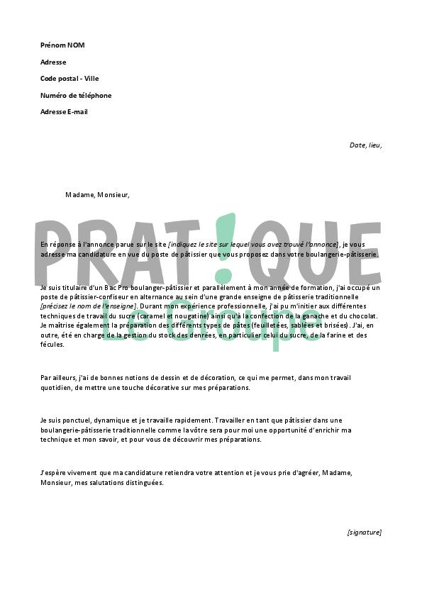 lettre de motivation pour un emploi de p u00e2tissier d u00e9butant