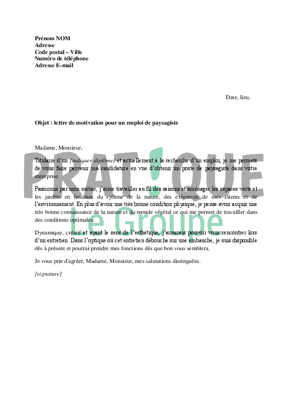 exemple lettre de motivation paysagiste