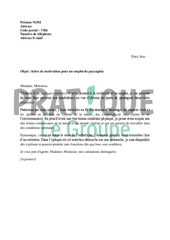 lettre de motivation pour un emploi de paysagiste