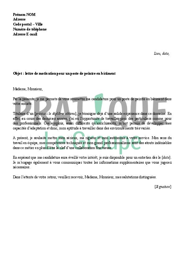 cover letter example exemple de lettre de motivation pour un emploi batiment. Black Bedroom Furniture Sets. Home Design Ideas