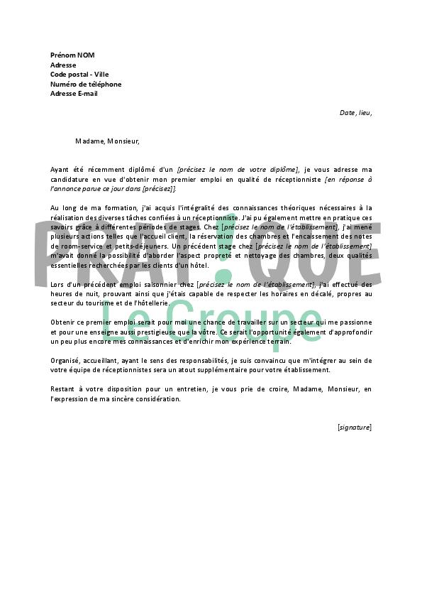 lettre de motivation pour un emploi de r u00e9ceptionniste