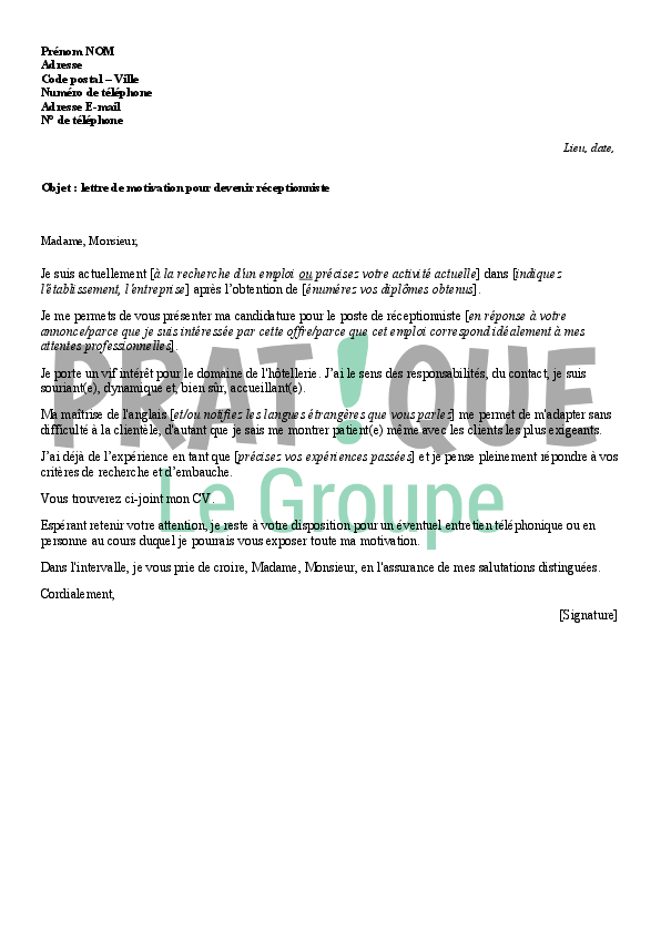 exemple lettre motivation hotellerie