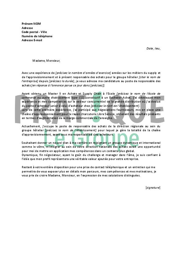 lettre de motivation pour un emploi de responsable des achats confirm u00e9