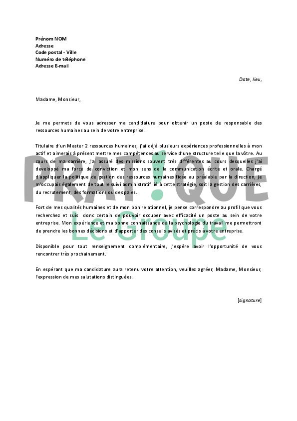 lettre de motivation pour un emploi de responsable des ressources humaines