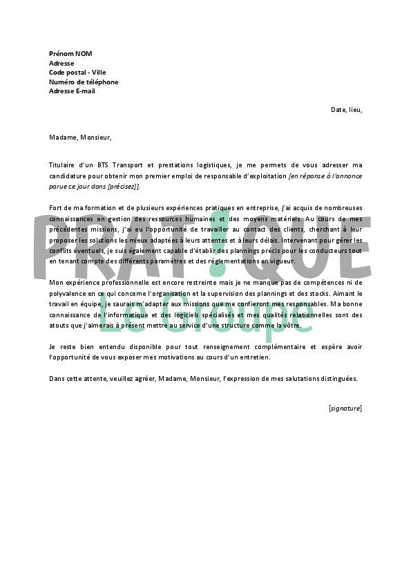 lettre de motivation pour un emploi de responsable d