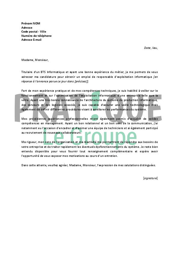 lettre de motivation responsable de production
