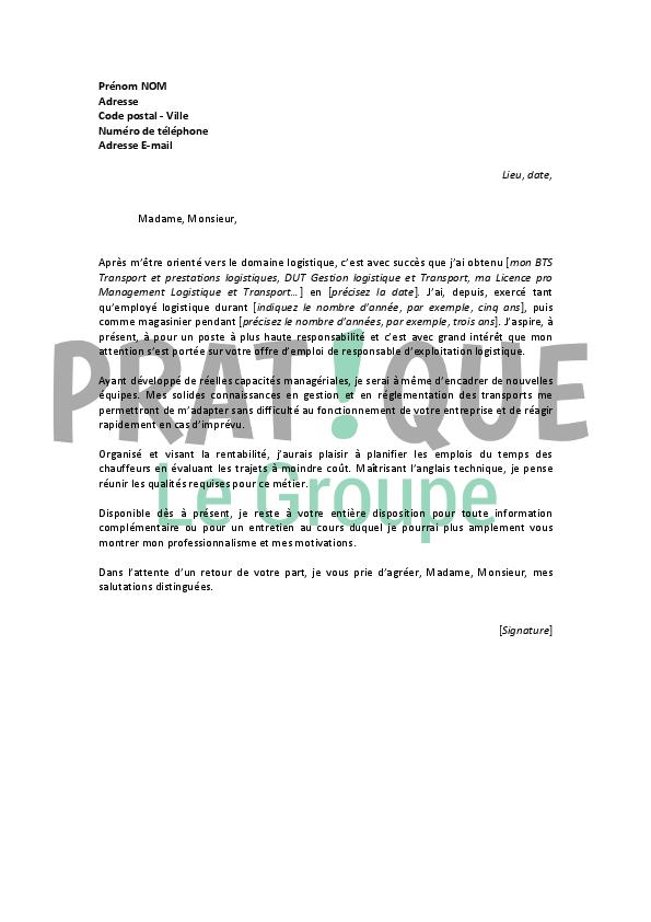 lettre de motivation pour un emploi de responsable exploitation logistique