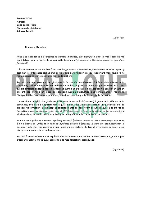 lettre de motivation pour un emploi de responsable
