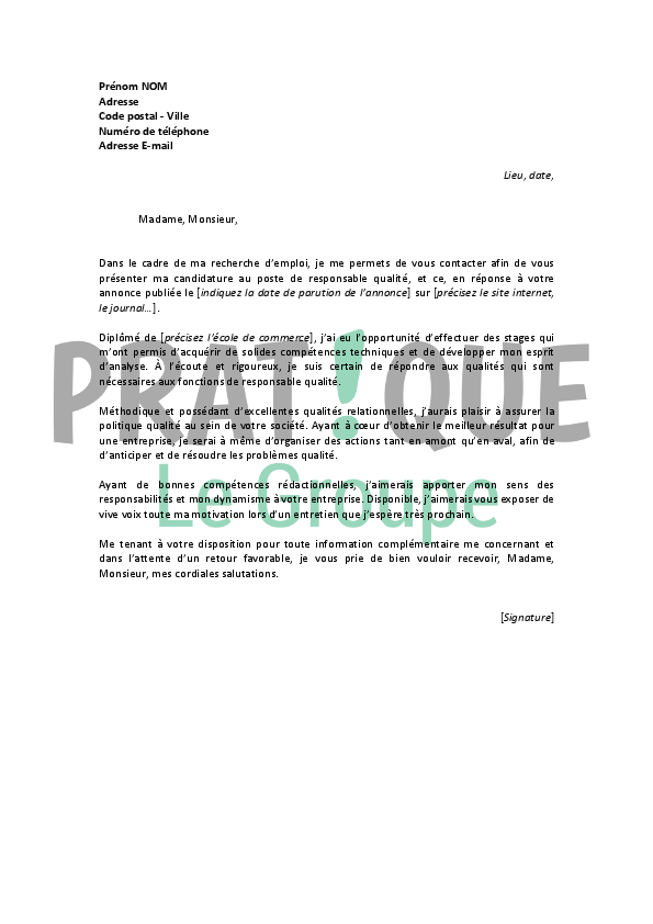 exemple lettre de motivation responsable qualite