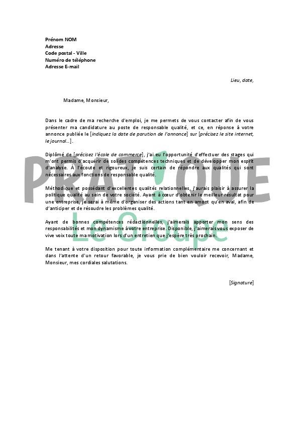 lettre de motivation pour un emploi de responsable qualit u00e9 d u00e9butant