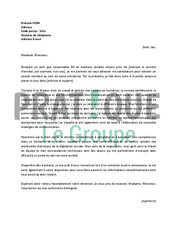 lettre de motivation pour un emploi de responsable rh et relations sociales