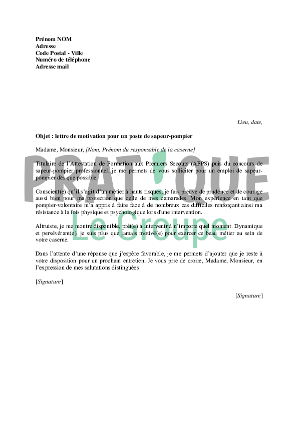modele lettre de motivation brancardier