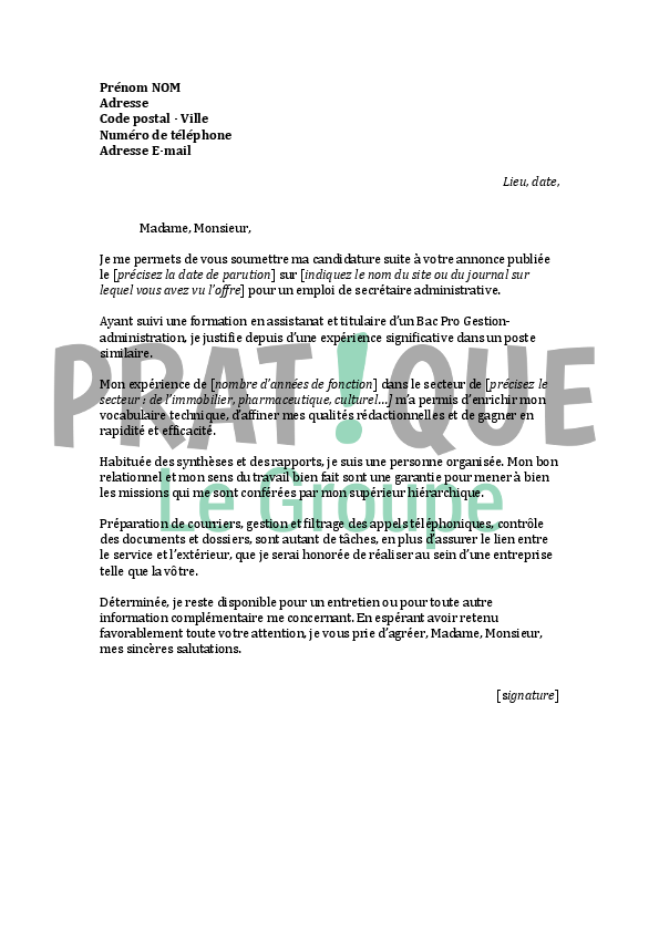 assistant administratif lettre de motivation emploi