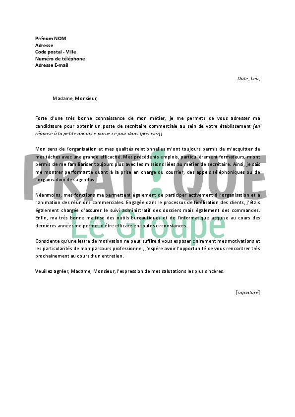lettre de motivation pour un emploi de secr 233 taire commerciale confirm 233 e pratique fr