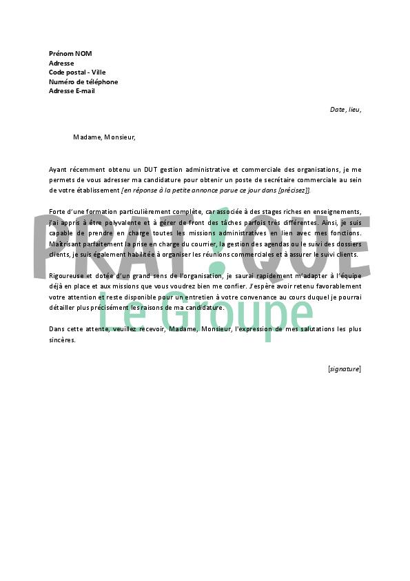 lettre de motivation pour un emploi de secr 233 taire commerciale d 233 butant pratique fr