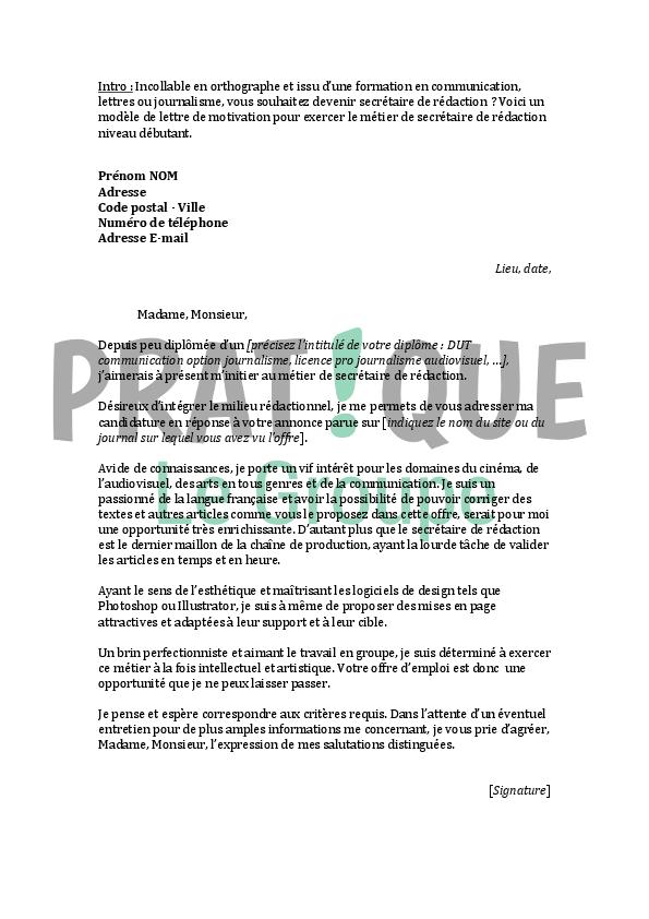lettre de motivation pour un emploi de secr 233 taire de r 233 daction d 233 butant pratique fr