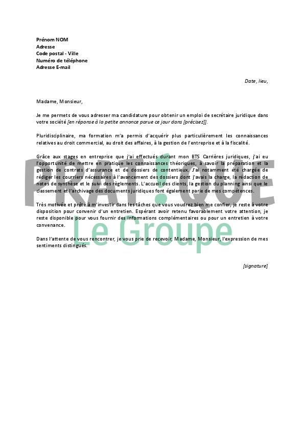 lettre de motivation pour un emploi de secr 233 taire juridique d 233 butante pratique fr