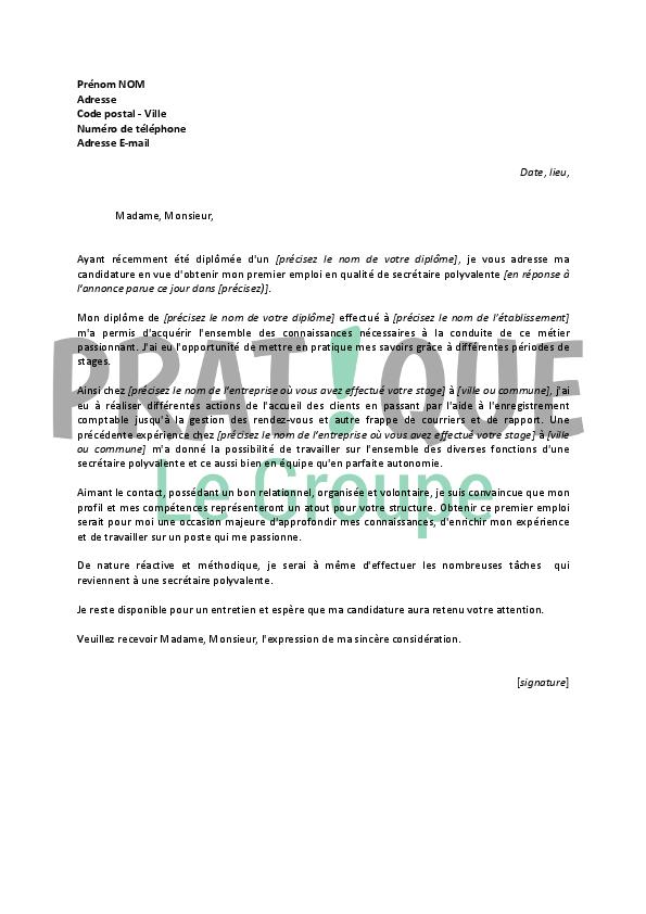 lettre de motivation pour un emploi de secr 233 taire polyvalente d 233 butante pratique fr