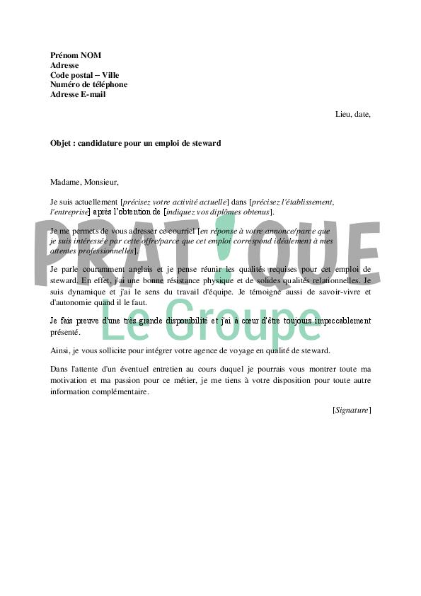 lettre de motivation pour un emploi de steward