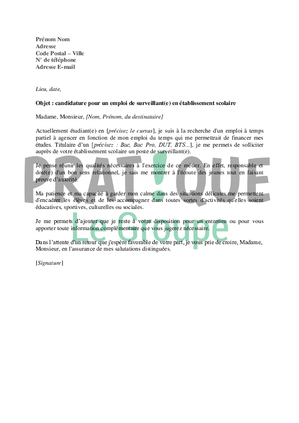 exemple lettre de motivation internat Lettre de motivation pour un emploi de surveillant(e) en  exemple lettre de motivation internat