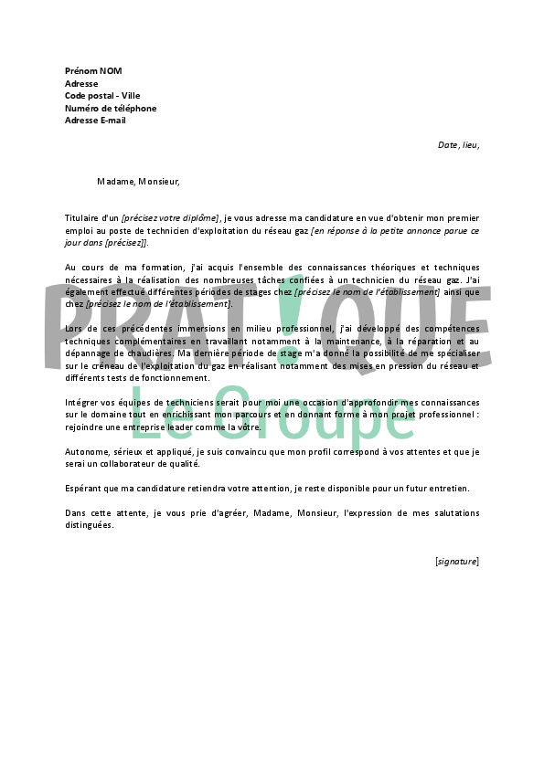 exemple lettre de motivation technicien telecom