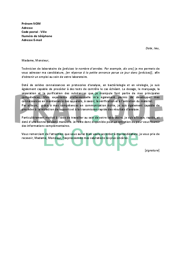 exemple lettre de motivation technicien de laboratoire Lettre de motivation pour un emploi de technicien de laboratoire  exemple lettre de motivation technicien de laboratoire