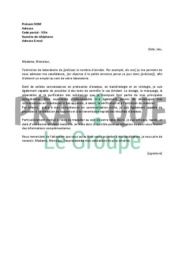 Lettre De Motivation Pour Emploi Technicien De Laboratoire ...