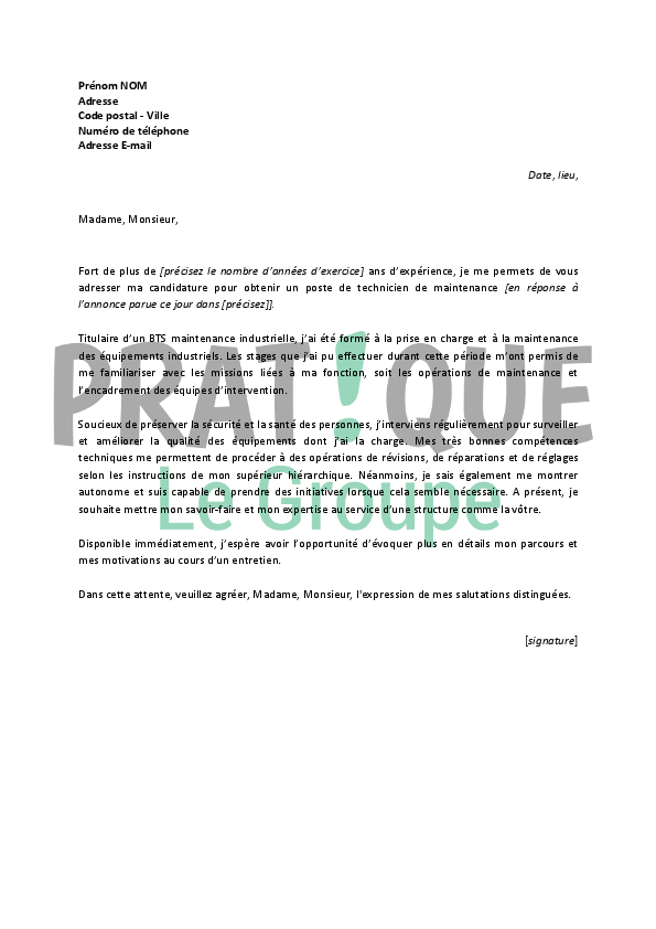 lettre de motivation technicien de maintenance industrielle