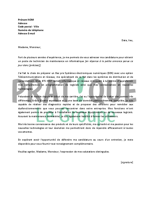 lettre de motivation technicien de maintenance Lettre de motivation pour un emploi de technicien de maintenance  lettre de motivation technicien de maintenance
