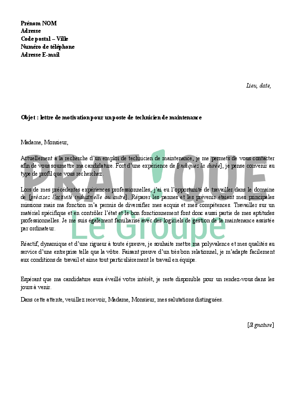 Lettre De Motivation Technicien Maintenance 2 Lettre De Motivation ...