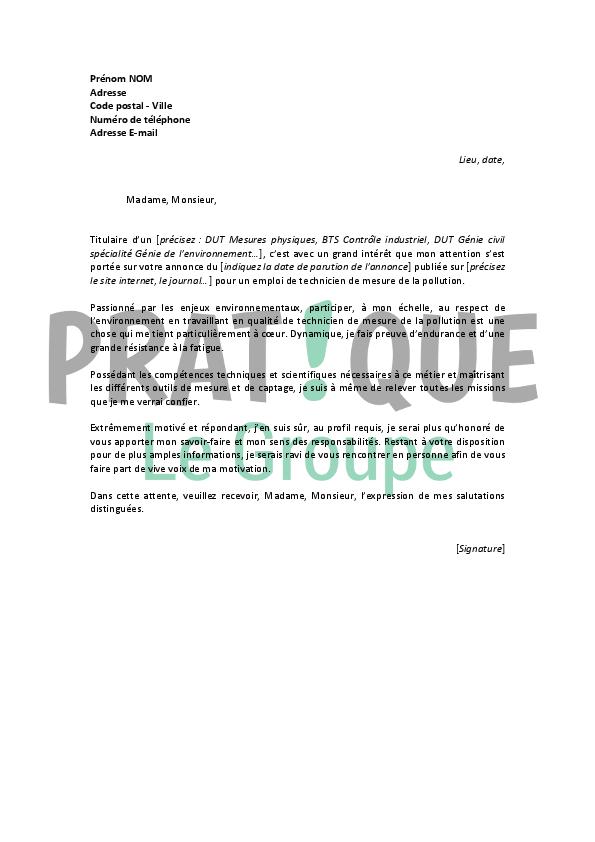 lettre de motivation pour un emploi de technicien de