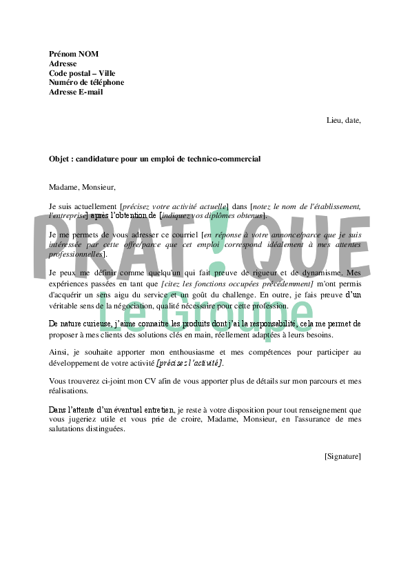 modele lettre motivation technico commercial