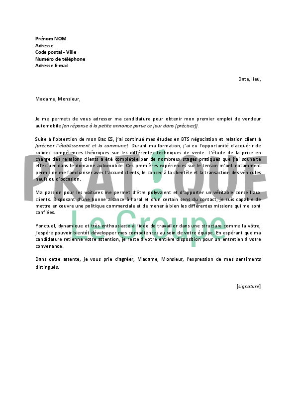 lettre de motivation pour un emploi de vendeur automobile d butant. Black Bedroom Furniture Sets. Home Design Ideas