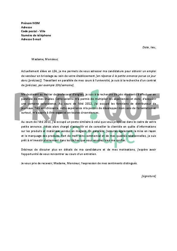 lettre de motivation pour un emploi de vendeur en