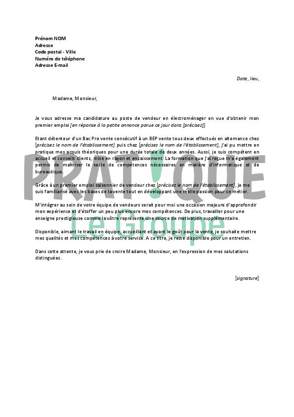 lettre de motivation pour un emploi de vendeur en  u00e9lectrom u00e9nager d u00e9butant
