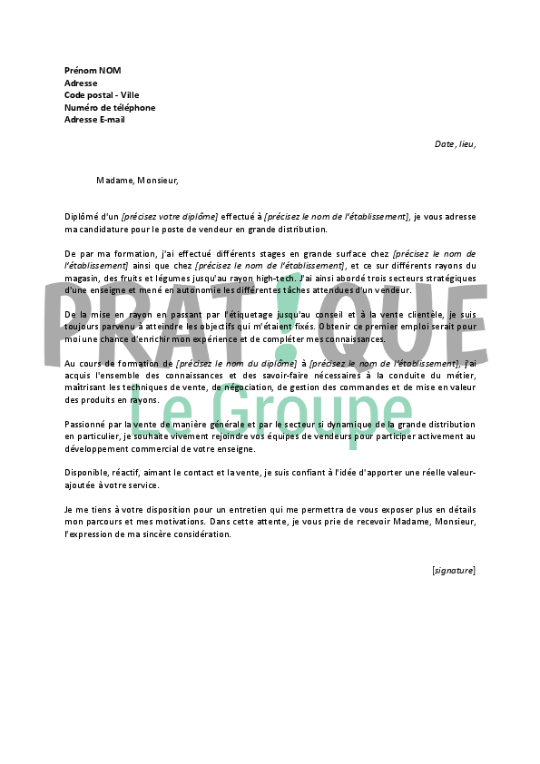 lettre de motivation pour grande distribution