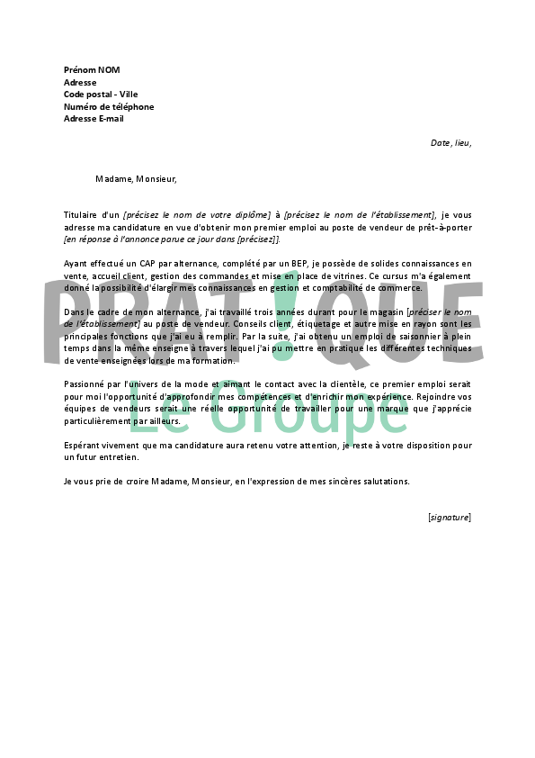 lettre de motivation pour un emploi de vente en pr t porter d butant. Black Bedroom Furniture Sets. Home Design Ideas