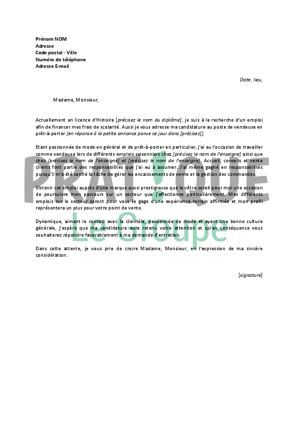 exemple lettre de motivation job etudiant vendeuse