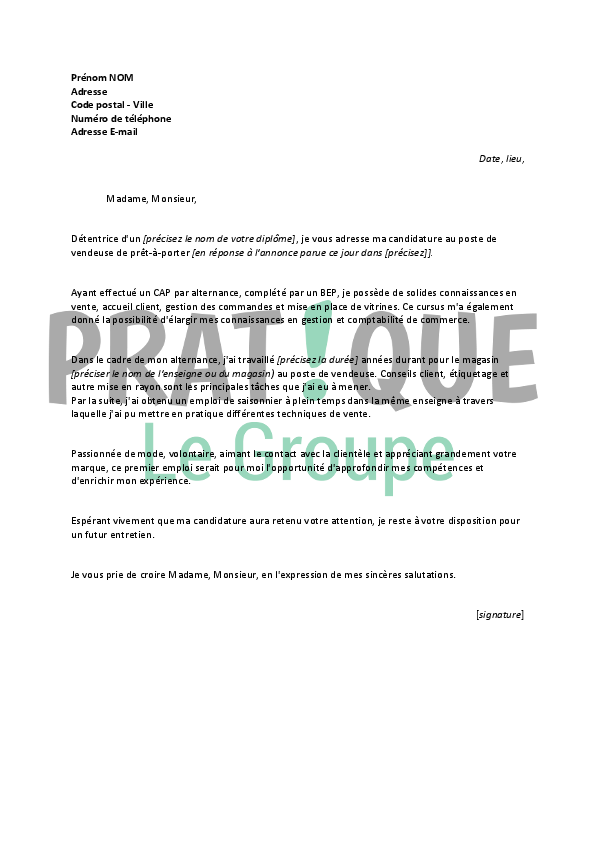 modele lettre de motivation vendeur pret a porter document