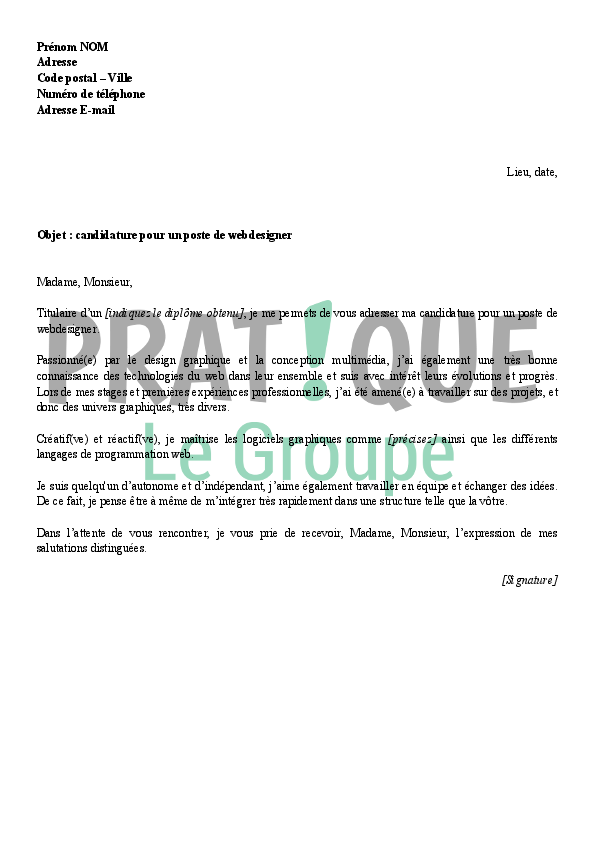 exemple lettre motivation webdesigner