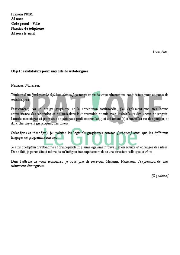 lettre de motivation pour un emploi de webdesigner