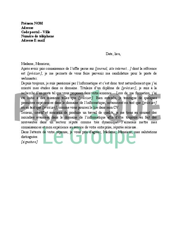 lettre de motivation webmaster Lettre de motivation stage webmaster | Aubergecronquelet lettre de motivation webmaster