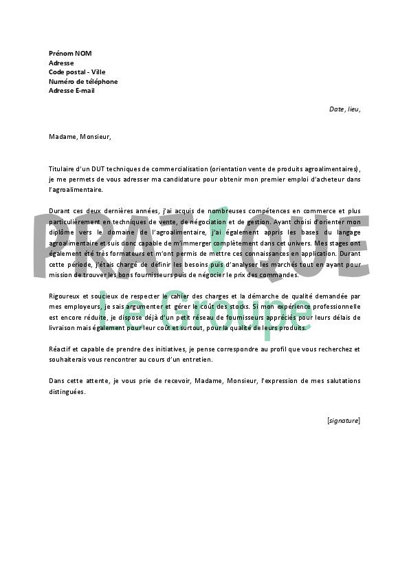 lettre de motivation pour un emploi d u2019acheteur dans l u2019agroalimentaire d u00e9butant