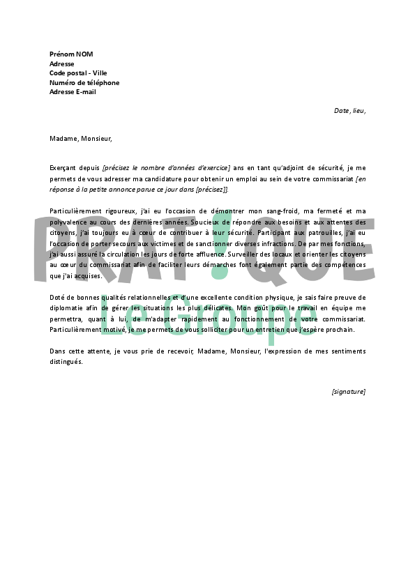lettre de motivation pour ads police national