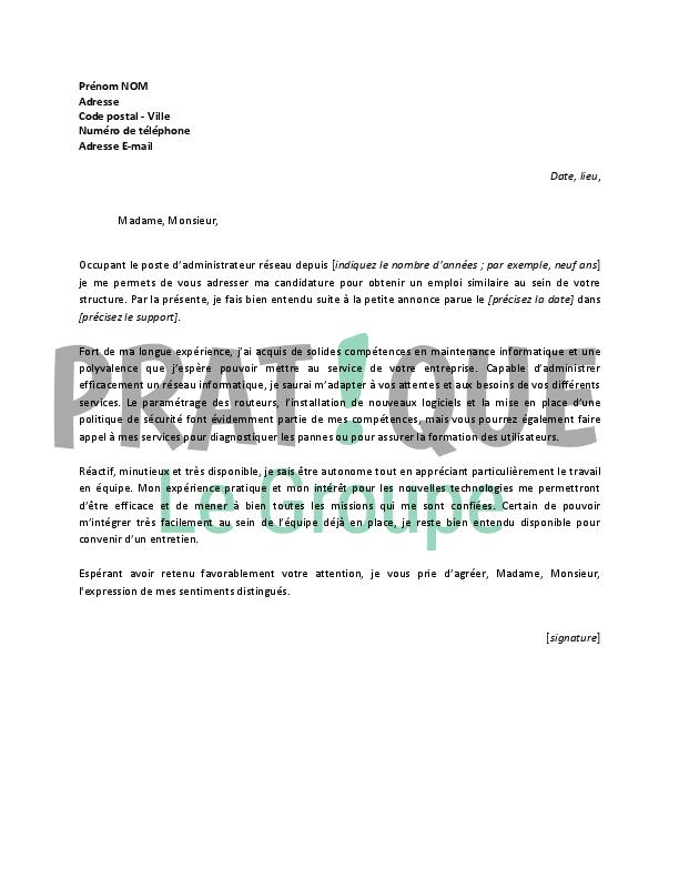 lettre de motivation nouveau poste Lettre de motivation pour un emploi d'administrateur réseau  lettre de motivation nouveau poste
