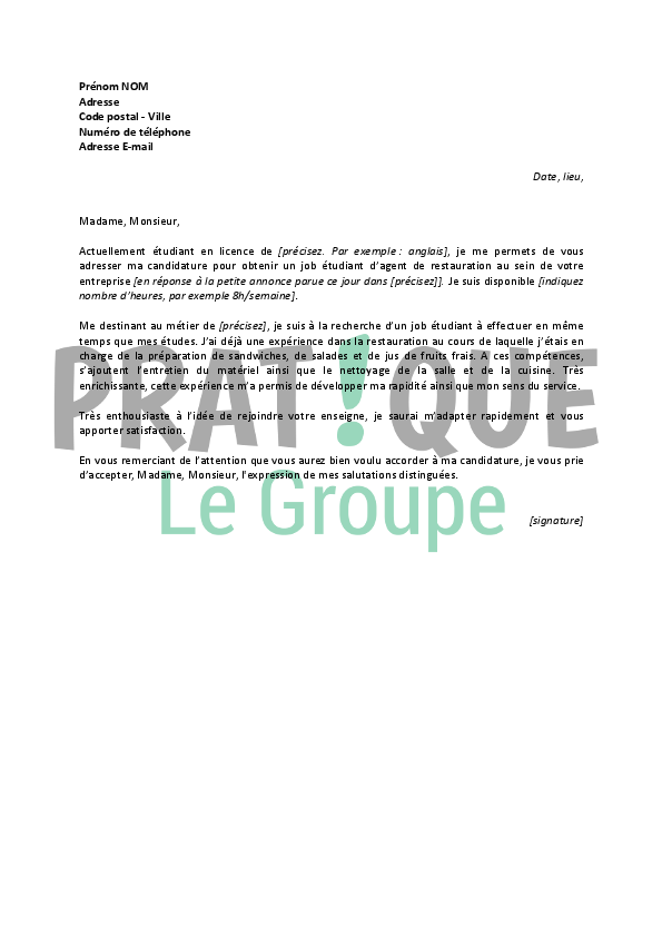 Lettre de motivation gratuite restauration for Offre emploi agent de restauration