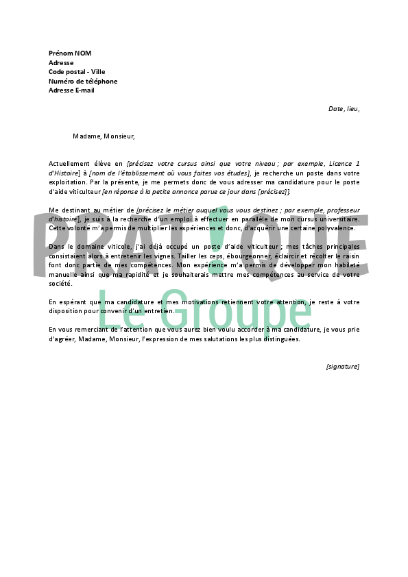 Lettre De Motivation Pour Un Emploi D Aide Viticulteur Job Etudiant