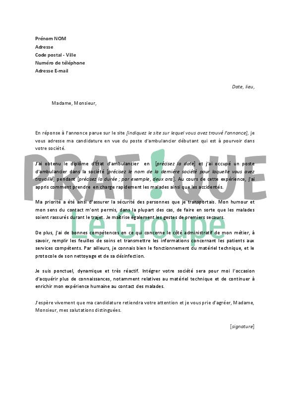 lettre de motivation pour un emploi d u2019ambulancier d u00e9butant