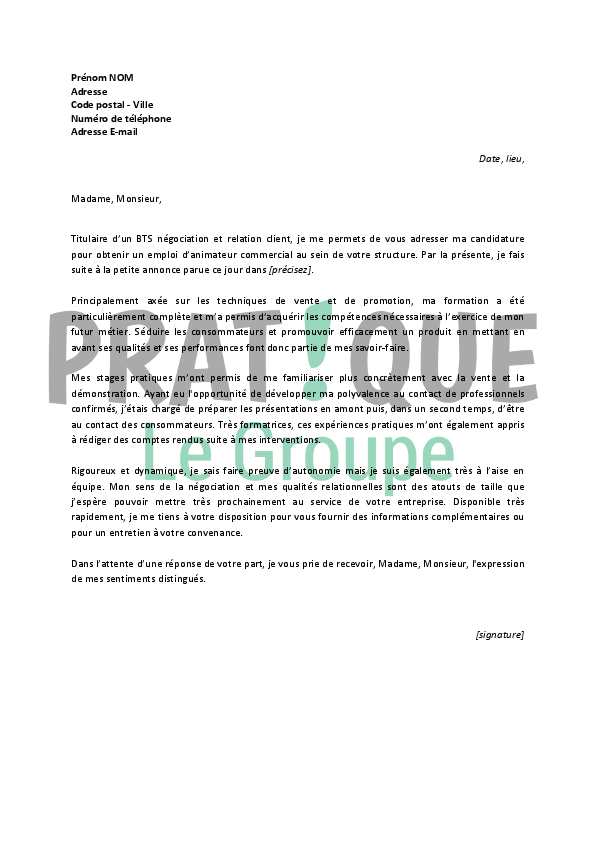 lettre de motivation animatrice periscolaire debutant